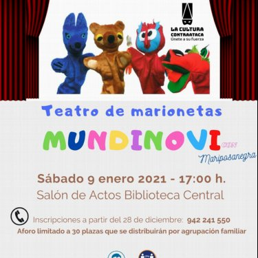 mariposanegra y las marionetas Mundinovi en la BIblioteca Central de Cantabria